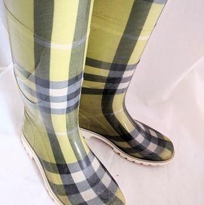 BURBERRY rain boots - Classic green plad
